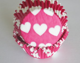 Red & White Hearts Cupcake Papers