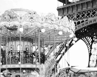 Paris Photography - Fine Art Photography - Eiffel Tower - Carousel - Black and White - Fine Art - France Photography - French Photography