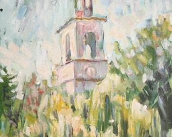 European Impressionist art oil painting landscape church