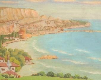 1950's European art oil painting landscape seascape signed