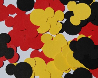 100 Black/Red/Yellow Mickey Mouse Confetti, Mickey Mouse Birthday, Mickey Mouse Baby Shower, Mickey Party, Disney die cuts