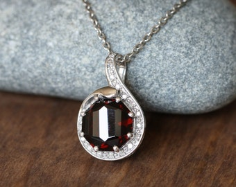 Art Deco Inspired Diamond and Garnet Pendant 925 Sterling Silver Necklace January Birthstone Gemstone Drop Necklace