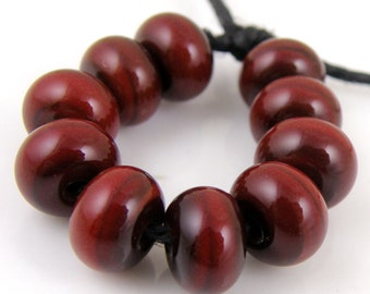 444 Chestnut Brown Made to Order SRA Lampwork Handmade Artisan Glass Spacer Beads Set of 10 5x9mm