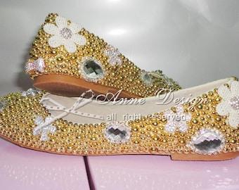 women gold pearls flat shoes rhinestone wedding flat shoes