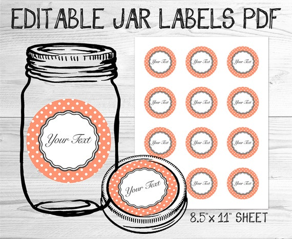 items similar to pdf editable canning jar labels printable template peach polka dot on etsy. Black Bedroom Furniture Sets. Home Design Ideas