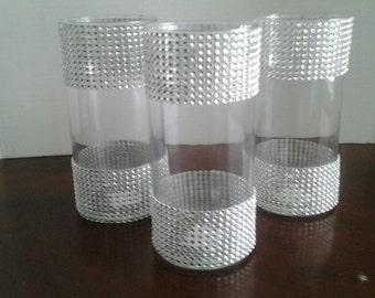 10 Wedding centerpiece glass candle holder table setting, rhinestones wedding candle holder or flower vases centerpieces wedding decoration