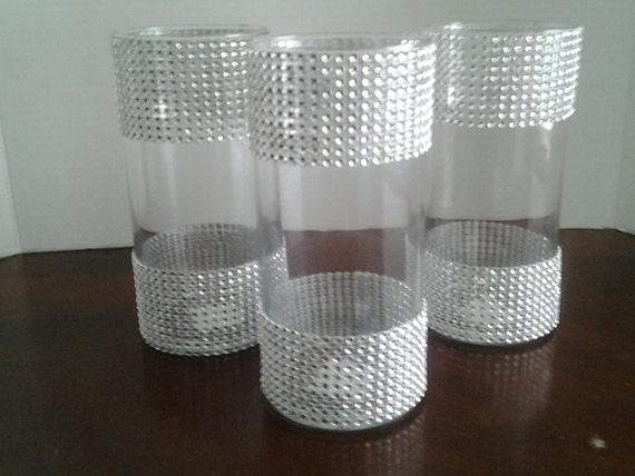 10 wedding centerpiece glass candle holder table setting rhinestones