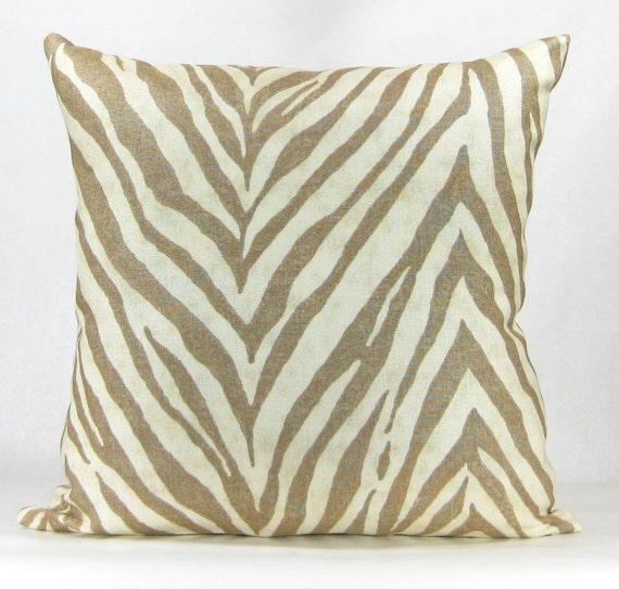 Animal Print Euro Pillow Shams : Animal Print Euro Sham Beige and Tan Zebra Print 18x18 Linen