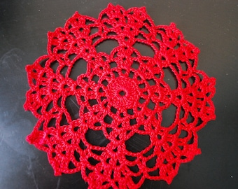 Red Crochet Small Doilies- Set of 3
