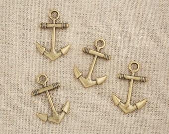 5Pcs Antique Brass Anchor Charms Pendant 1.2 x 0.8 inch / 30mm x 20 mm