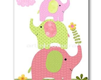 Elephant Nursery Art Baby Nursery Print Baby Girl Nursery Decor Printable Print Digital Download Print 8x10 11X14 INSTANT DOWNLOAD rose
