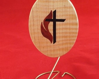 United Methodist , Methodist Cross and flame, Marquetry wood inlay, Ornament