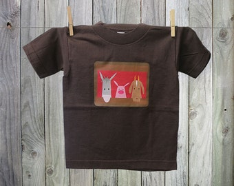 Fun Tshirt for Kids with Farm Faces Graphic: Donkey, Piglet and Goat.