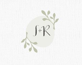Rustic Wedding Logo , Botanical Wedding Logo, Garden Wedding Logo
