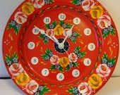 Limited Edition Unique Large Hand-Painted 24cm Metal Canalware Dish Wall Clock
