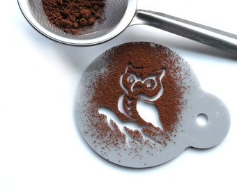 Owl - coffee stencil, cake stencil, cupcake stencil