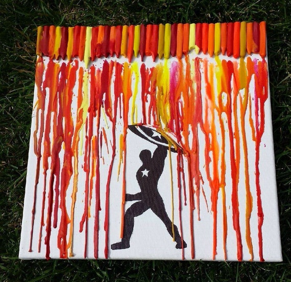Captain america melted crayon art for How to make a melted crayon art canvas