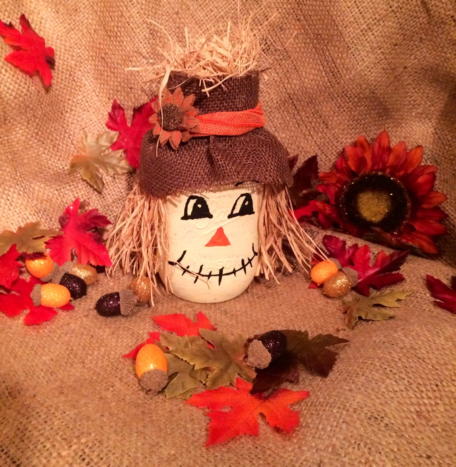 scarecrow mason jar scarecrow jar jar scarecrow burlap by 365holidays 2876