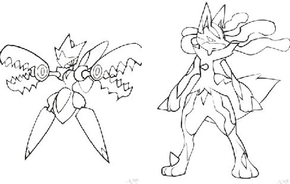 Items Similar To Pokemon Coloring Book Pages Mega Lucario And Scissor On Etsy