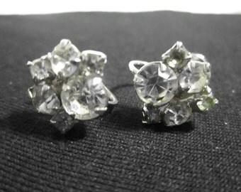 Vintage Rhinestone Screwback Earrings, Flower Design, Unmarked, Est. 1950s