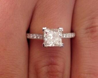 1.38 CT Princess Cut d/si1 Diamond Solitaire Engagement Ring 14k White Gold