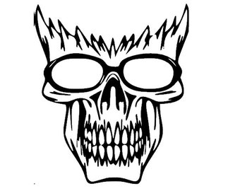 Cool Skeleton Head Decal