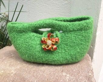 Green Wool Felt Handbag