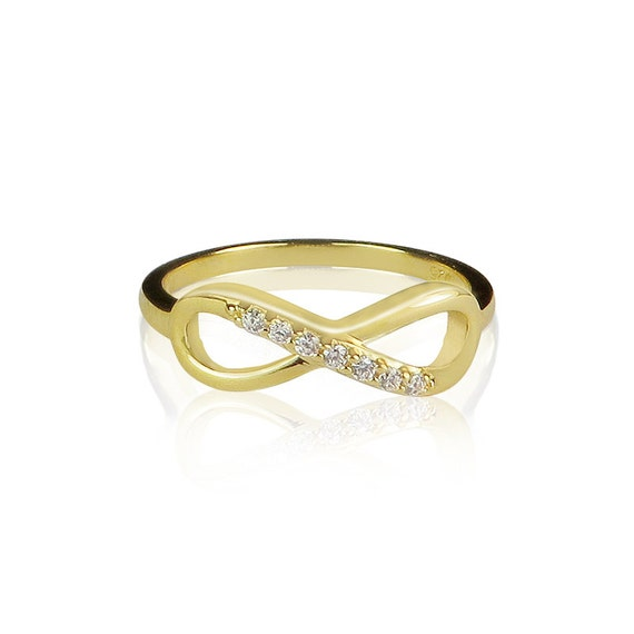 Infinity ring with sparkly cubic zirconia and 100% safe to get wet, Gold plated silver, Wear it to circulate your wishes and desires