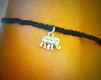Black Plaited Elephant Wish Anklet / silver elephant anklet / lucky elephant anklet / cotton anklet / gift for her / hippie anklet