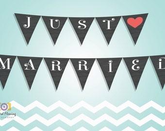 Just Married Printable Wedding Banner - Wedding Signage - Wedding Decoration - INSTANT DOWNLOAD - DIY Wedding Banner - Printable Banner