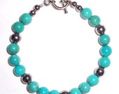 Beautiful Turquoise and Silver Bead Bracelet