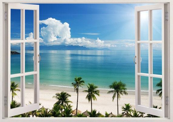 Beach Wall Decal D Window Coast Wall Sticker For Home Decor - 3d window wall decals
