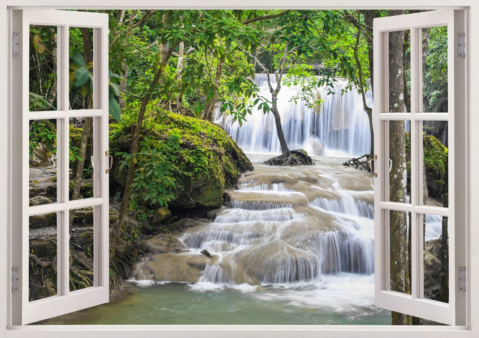 Waterfall Wall Art 3d Window Waterfall Vinyl Wall Decal For. Where Do Interior Decorators Shop. Decoration For Bathroom. Decor For Small Living Room. Thanksgiving Front Door Decorations. Nyc Hotel Rooms. Table Accessories And Decorations. Decorative Globe. Room Air Conditioner And Heater