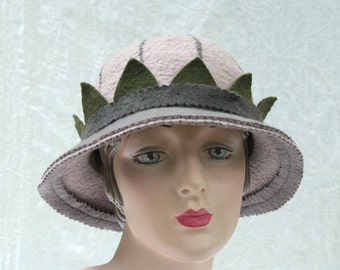 Cloche Hat - Gray - Striped Hat - Hand Felted Merino Wool - Striped Cloche - Grey - Gray Cloche - Multicolored