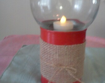 Hurricane lamp red tin painted tan burlap votive candle holder