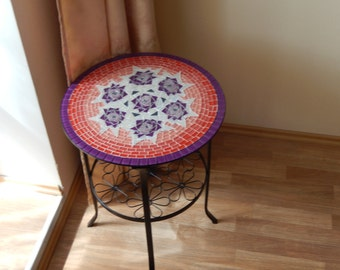 Coffee table with handmade mosaic tabletop