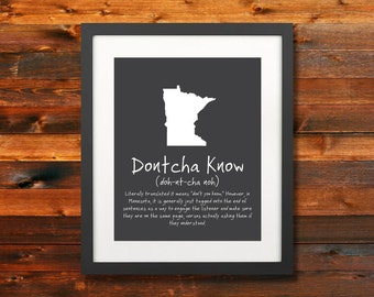 Dontcha Know MN State Phrase Poster: Minnesota Norwegian sayings, Wall Art, Silhoette, Digital Print, Typography, Artwork - INSTANT DOWNLOAD