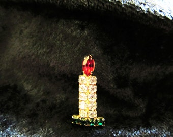 Vintage Rhinestone Christmas Candle Brooch Pin
