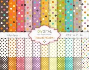 "Thousand Polka Dots Digital Paper Set - 33 Printable digital papers for scrapbooking, invites, cards - 12""x12"" - 300dpi- Instant Download"