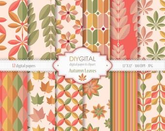 "Autumn Leaves Digital Paper Set - 12 Printable digital papers for scrapbooking, invites, cards - 12""x12"" - 300dpi- Instant Download"