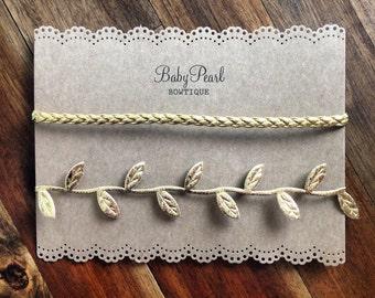 Boho Headband Set - Braided Headband Set - Gold Leaf Headband Set - Gold Headband Set