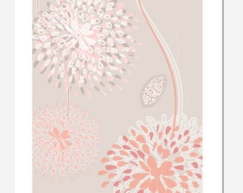 Art print Flowers gray, white, salmon with pink background. Digital art print illustration, printingSpring
