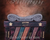 """Book shelf with Autumn leaves. Awesome digital background for """"new born"""" photography."""