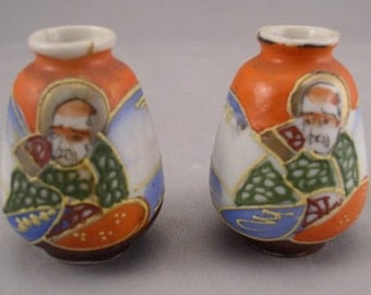 "2 Occupied Japan Miniature Vases 2"" Hand Painted"