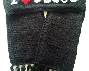 I Love Jesus Black Unisex Knitted Soft Fabric Wrong Side Lining Scarf with Strings