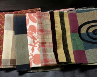 Set of Seven- 17in x 17in Upholstery fabric Squares- 18A