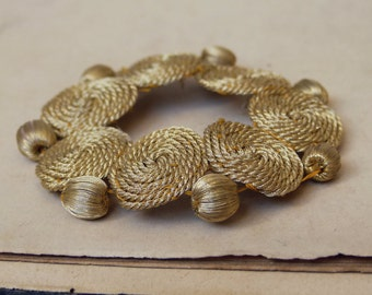 1900s French real gold applique w/ real gold passementerie beads & wound gold thread, circle, vintage wedding, art deco, costume design