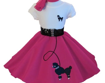 4 pc 50's POODLE SKIRT OUTFIT for Child 4 5 6 7 8 - Choose size/color