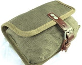 Genuine Army Surplus Ammo Pouch - Canvas And Leather - To Fit Any Belt - Perfect As Cartridge Bag Substitute