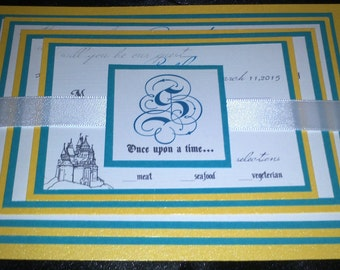 Teal and Yellow Layered Happily Everafter Themed Wedding Invitation with 2 enclosures/RSVP Card